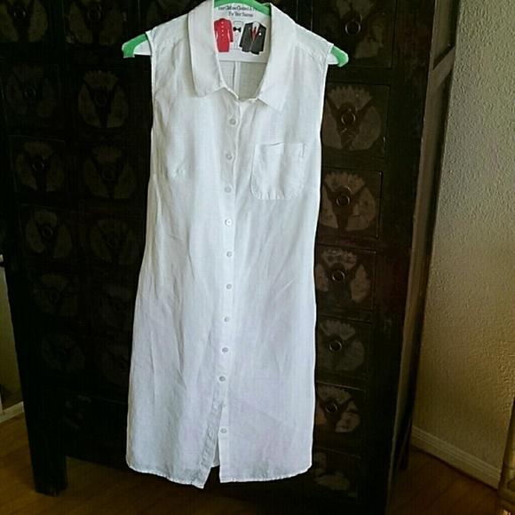 9d7c274959 White Linen Dress. M 5b3d6265aaa5b8668e4505ef